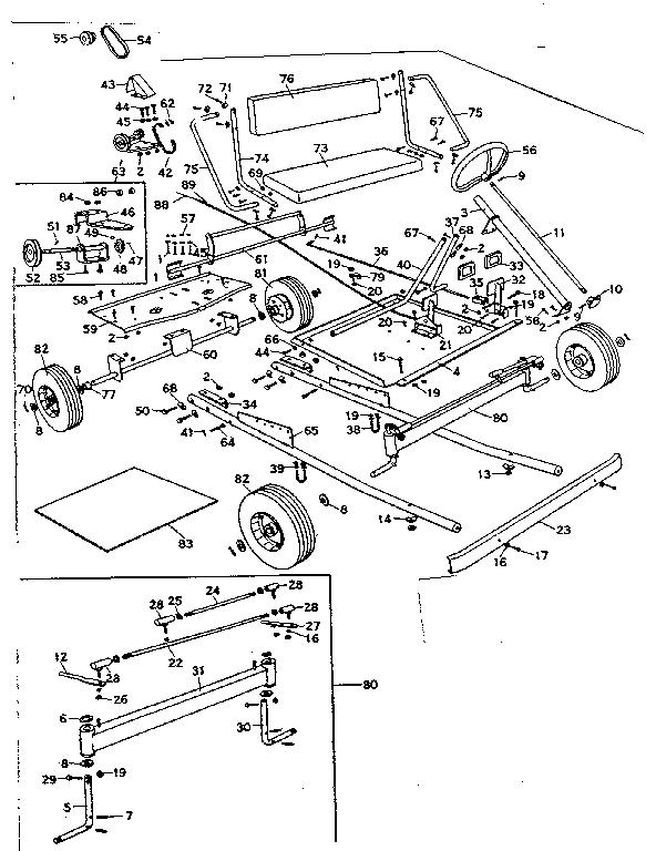 Craftsman model 53892021 lawn sweeper genuine parts