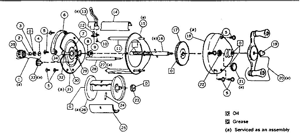 Sears model 535311540 fishing reel genuine parts
