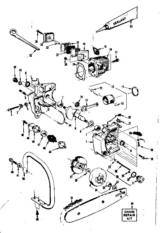 Craftsman model 358352050 chainsaw, gas genuine parts