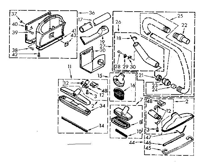 Kenmore model 1164052190 vacuum, built-in genuine parts