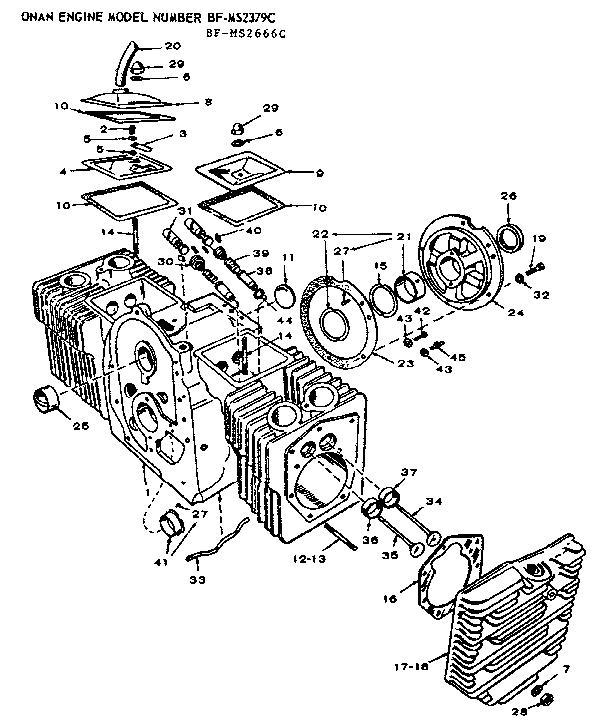 Onan model BF-MS2666C engine genuine parts