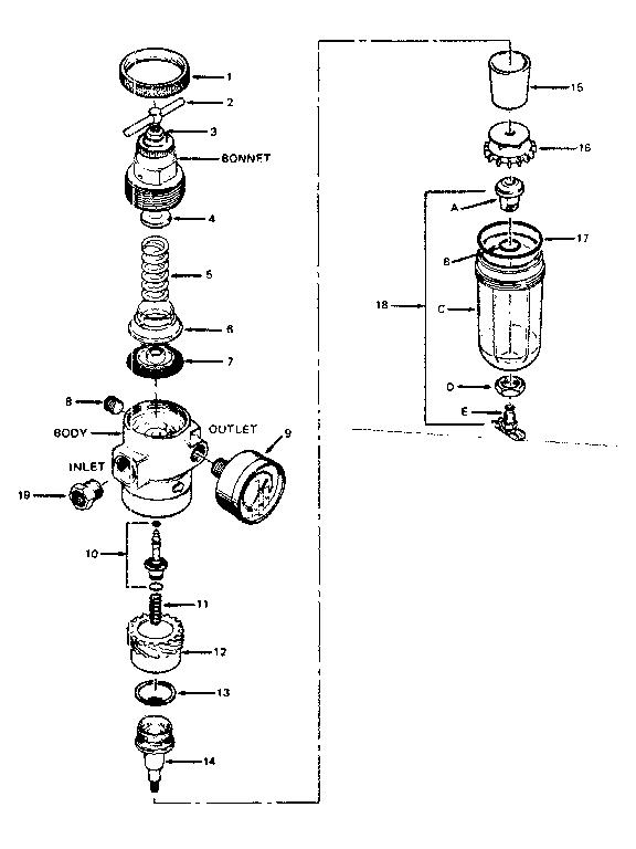 Craftsman model 282160232 air regulator gauge genuine parts