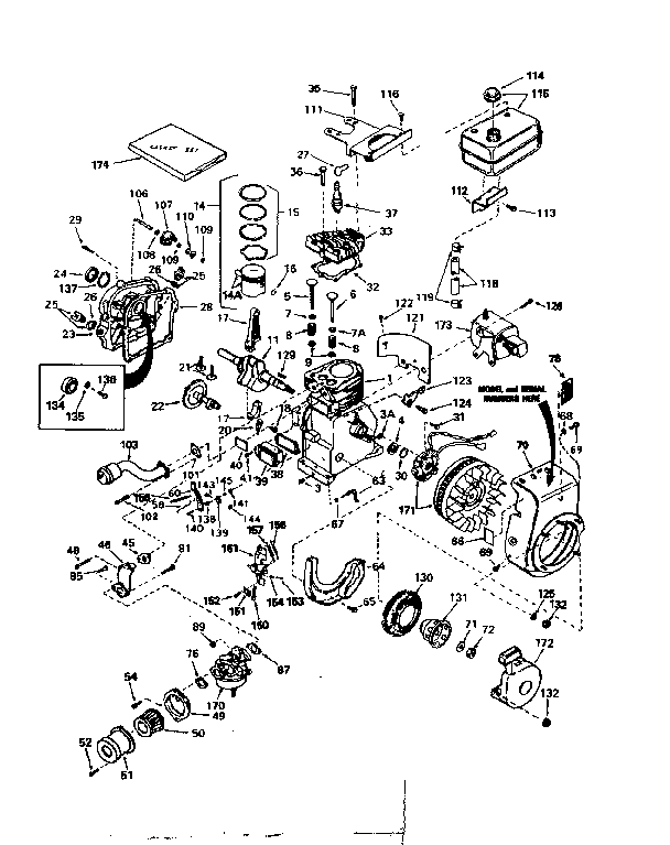Tecumseh model HS50-67204D engine genuine parts