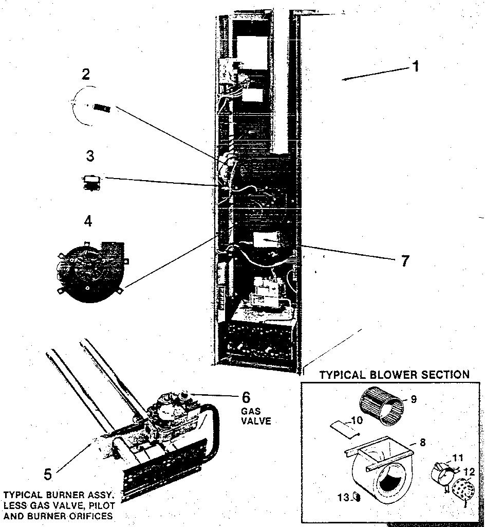 Rheem model GQA furnace/heater, gas genuine parts