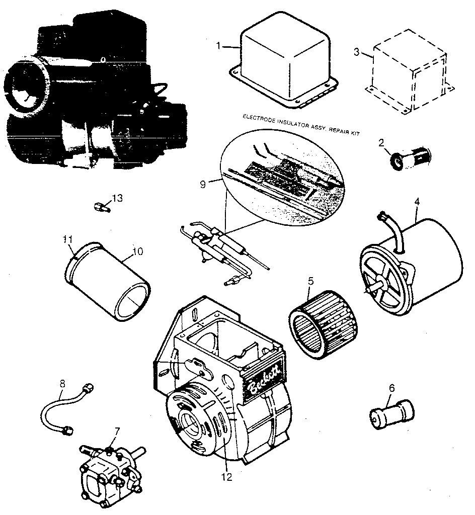 Beckett model AG burner, furnace genuine parts