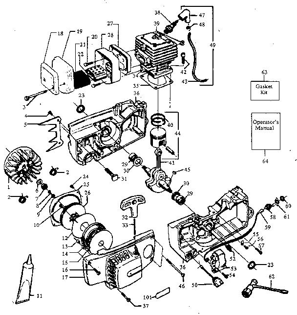 Craftsman model 358356091 chainsaw, gas genuine parts