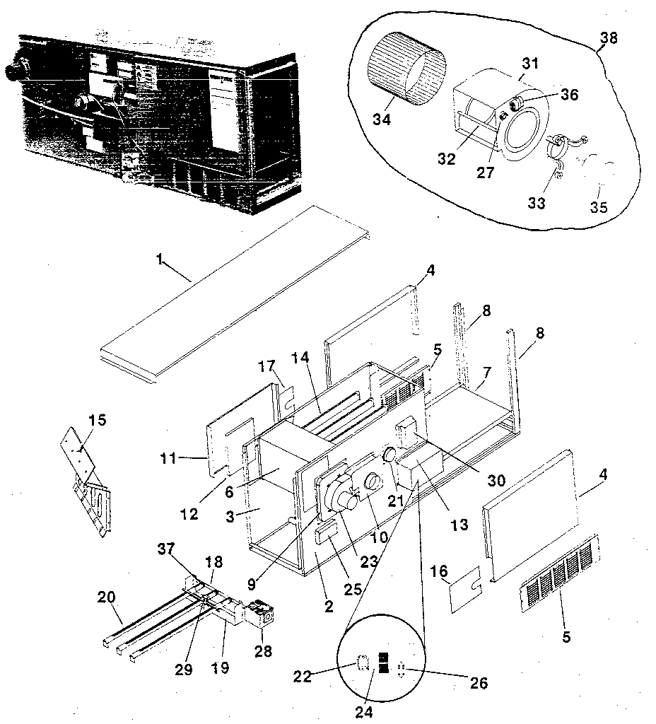 Rheem model GVB furnace/heater, gas genuine parts
