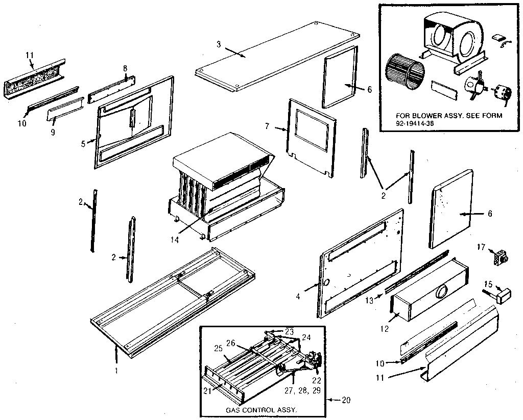 Rheem model RGUA furnace/heater, gas genuine parts