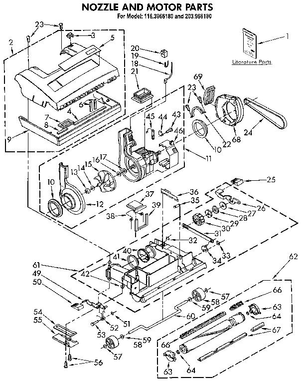 Kenmore model 1163966180 vacuum, upright genuine parts