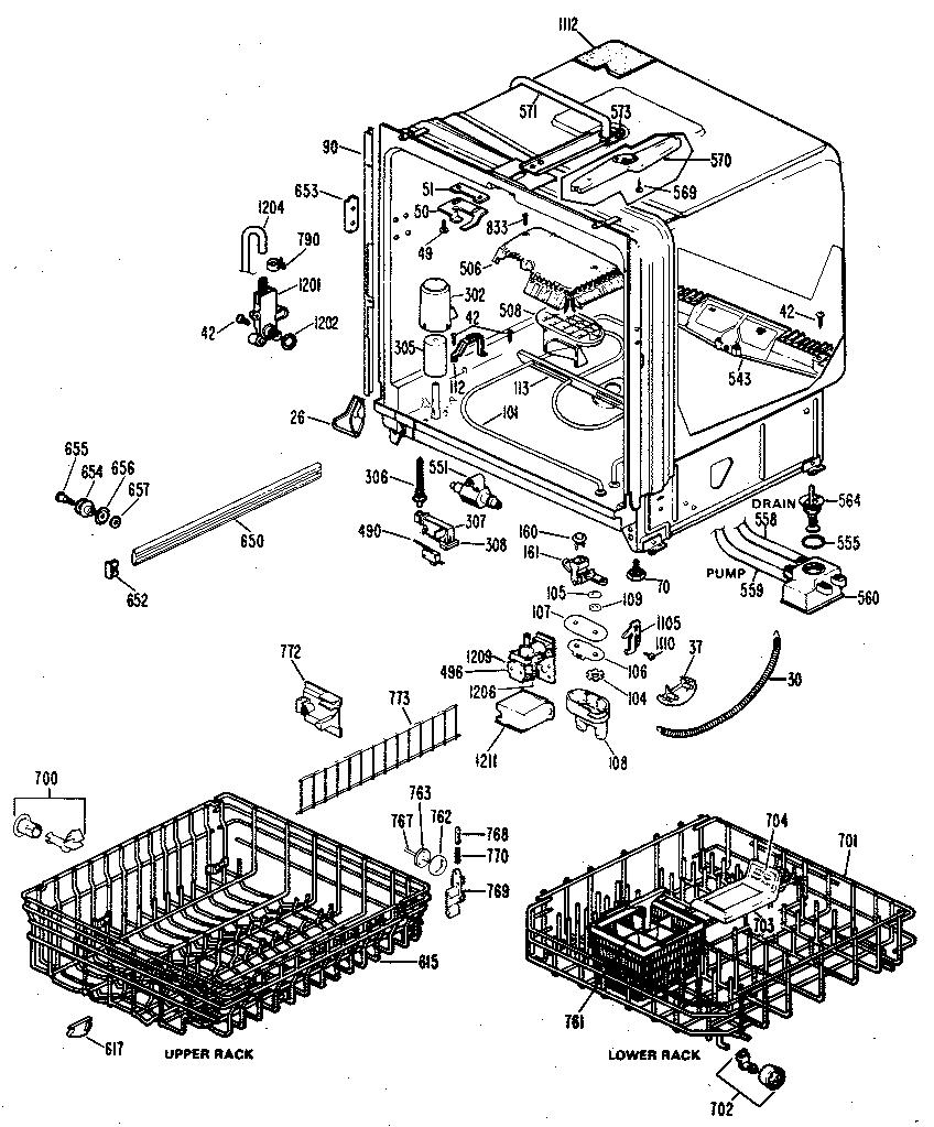 Ge model GSD1200G02 dishwasher genuine parts