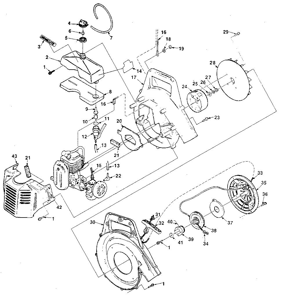 Homelite model UT-08004 blower, gas genuine parts