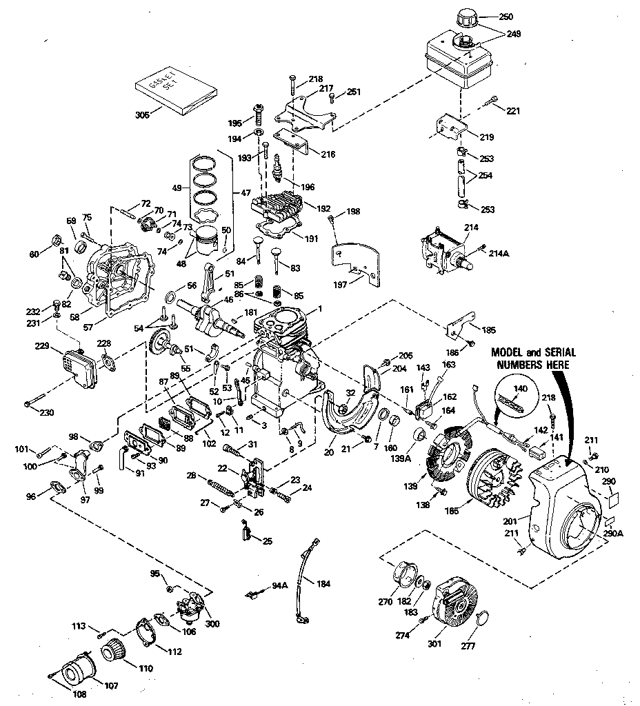 Tecumseh model HS40-55580K engine genuine parts