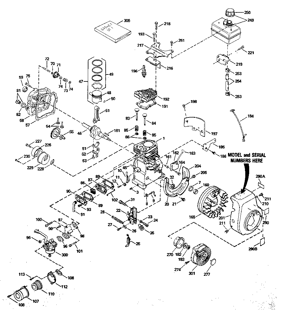 Tecumseh model H30-35387S engine genuine parts