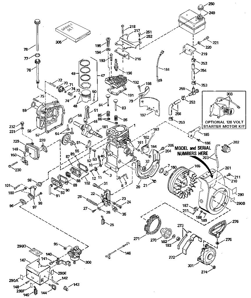 Tecumseh model HSSK50-67267G engine genuine parts