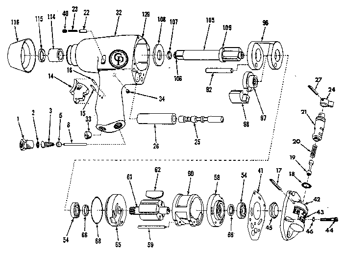 Chicago-Pneumatic model CP-742-TL-2 MODEL B impact tool