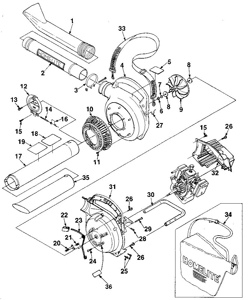 Homelite model HB-180 blower, gas genuine parts
