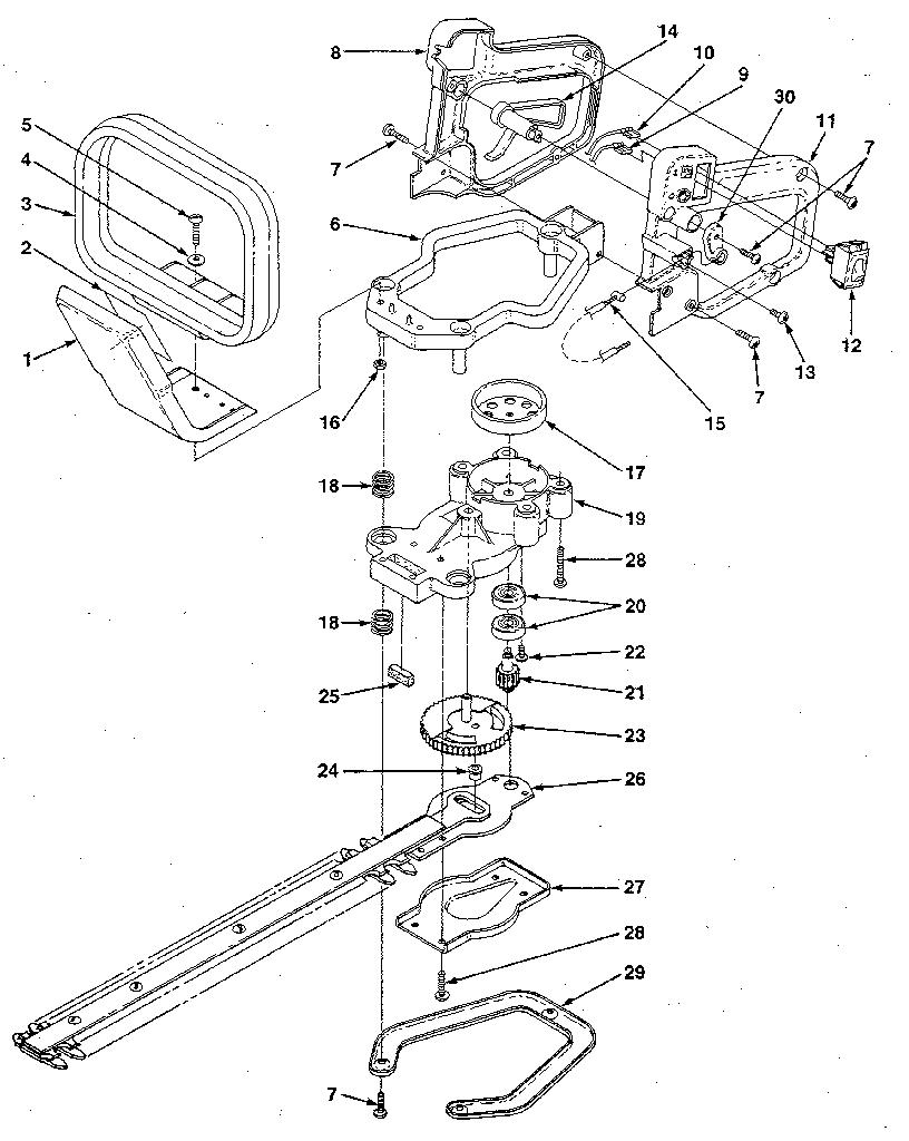 Homelite model HT-17 hedge trimmer, gas genuine parts