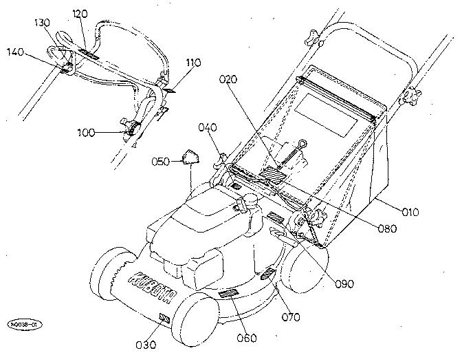 Kubota model W5019-PC walk behind lawnmower, gas genuine parts