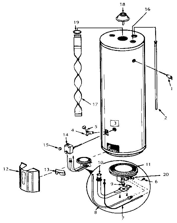 Kenmore model 153335250 water heater, gas genuine parts