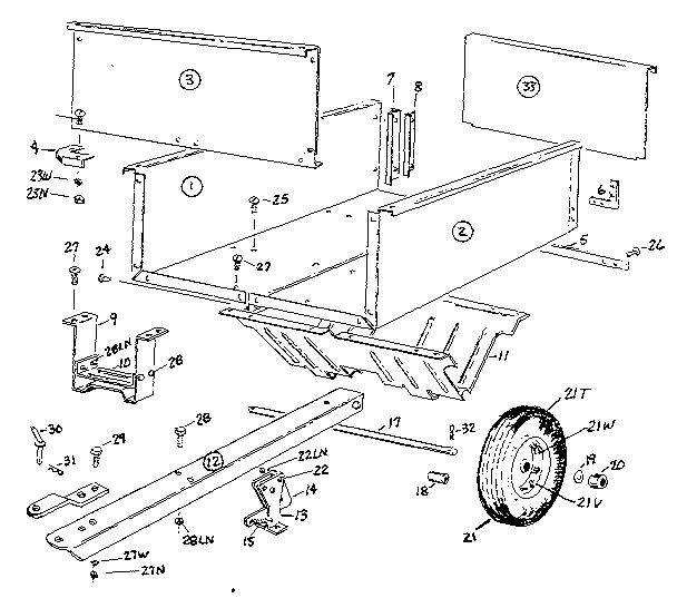 Craftsman model 610243551 cart/dump cart attachment