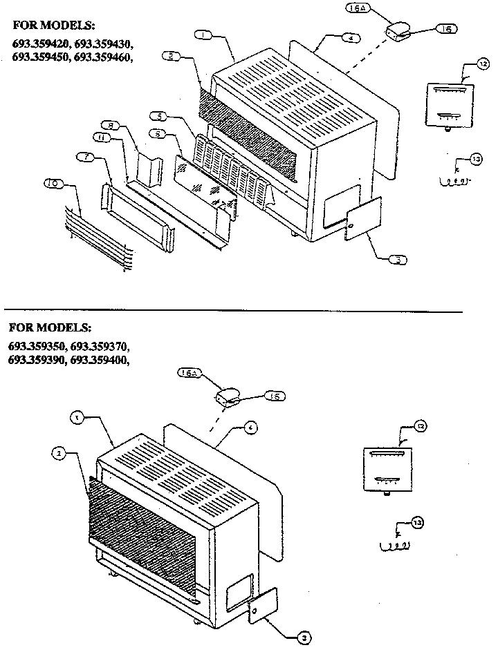 Schwank model 359390 space heaters/wall unit genuine parts