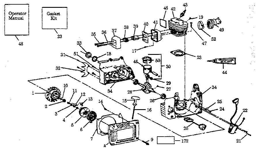 Craftsman model 358356331 chainsaw genuine parts
