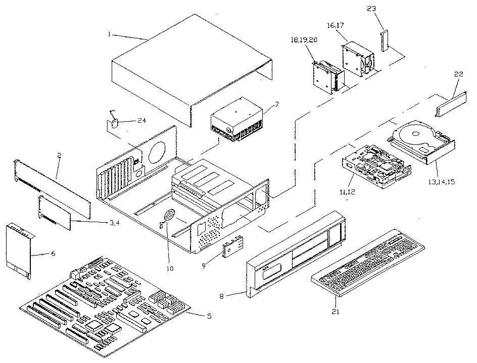 Nec model POWERMATE SX computer genuine parts