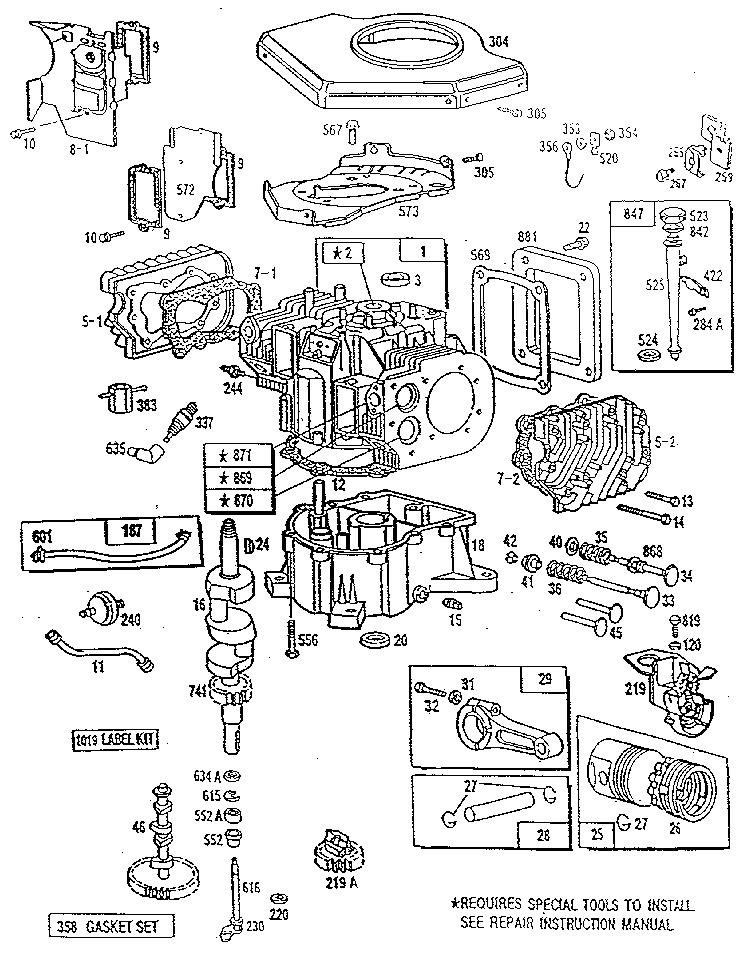 Briggs-Stratton model 422707-1227-01 engine genuine parts