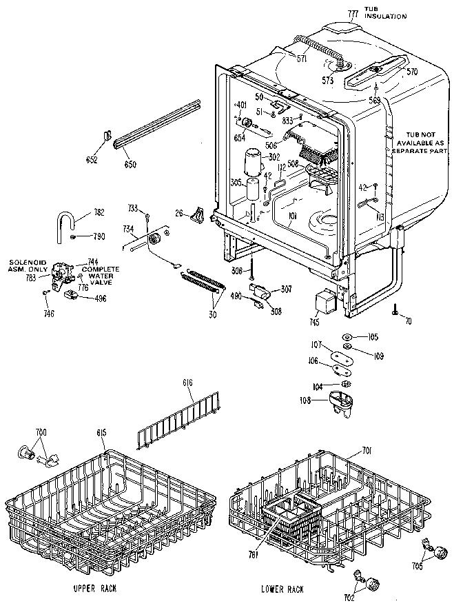 Ge model GSD700L-20 dishwasher genuine parts