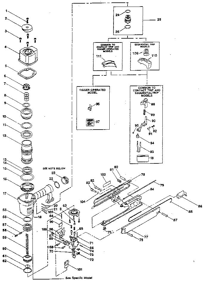 Stanley-Bostitch model T50S4-1 stapler genuine parts