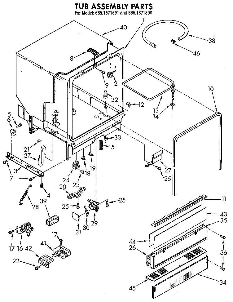 Kenmore model 6651571591 dishwasher genuine parts