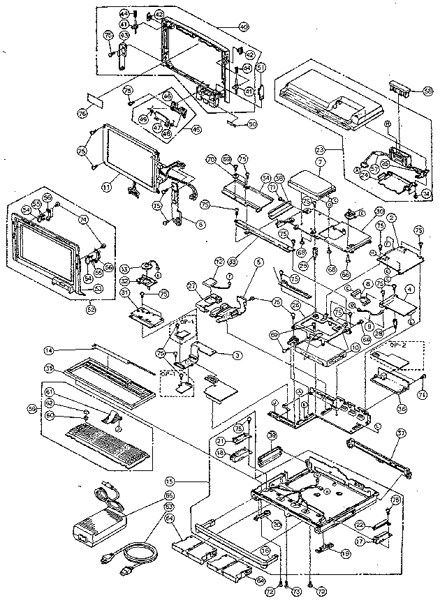 Toshiba model T1600/20 B&W computer genuine parts