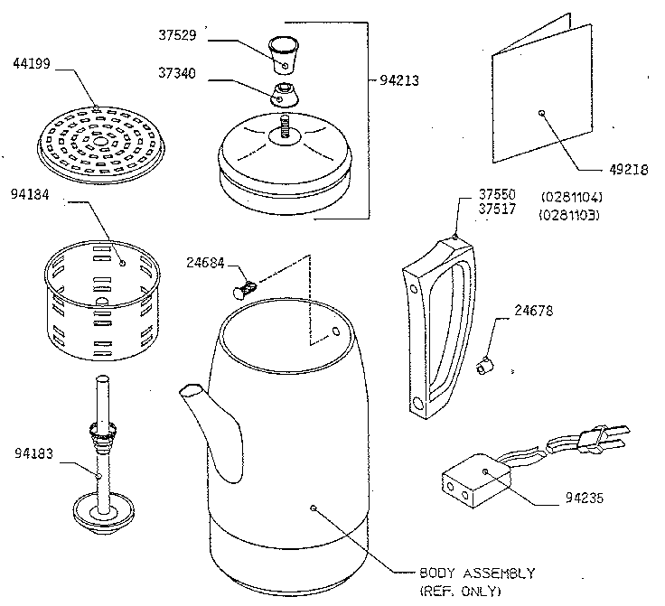 Presto model 0281104 coffee/tea maker genuine parts