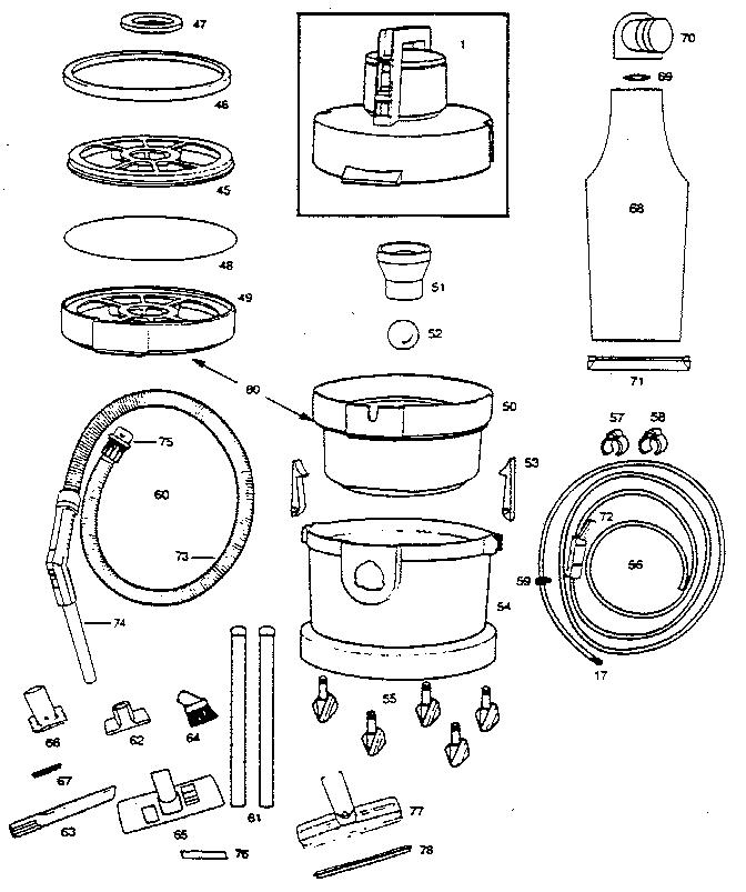 Vax model 221A-07 vacuum, indoor/outdoor genuine parts