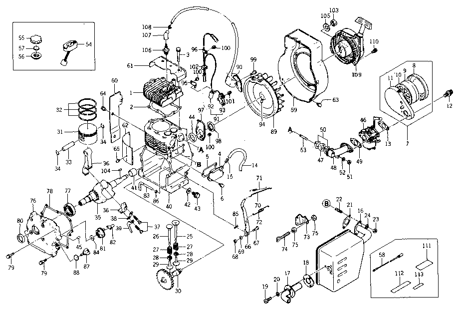 Kawasaki model FA210 engine genuine parts
