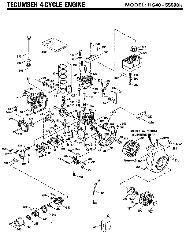 Tecumseh model HS40-55598K engine genuine parts