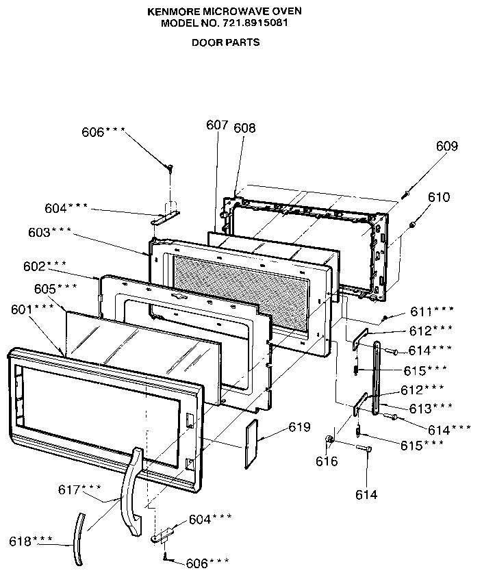 Kenmore model 7218915081 countertop microwave genuine parts