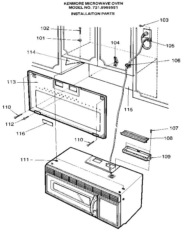 Kenmore model 7218965581 countertop microwave genuine parts