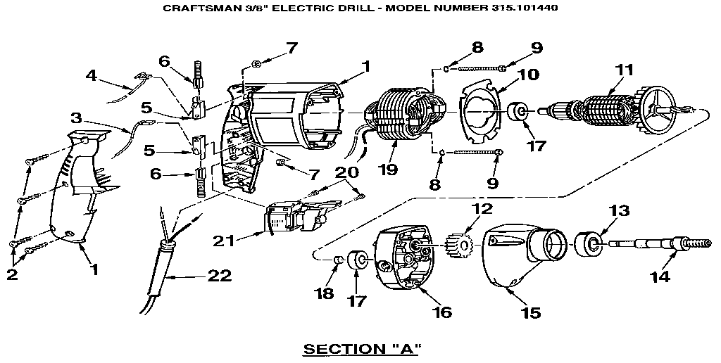 Craftsman model 315101440 drill-misc craftsman genuine parts