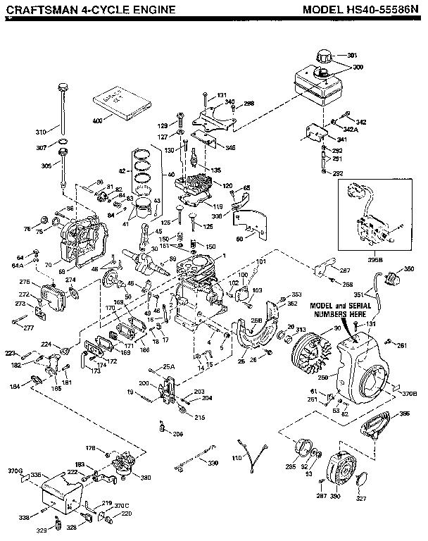 Tecumseh model HS40-55586N engine genuine parts