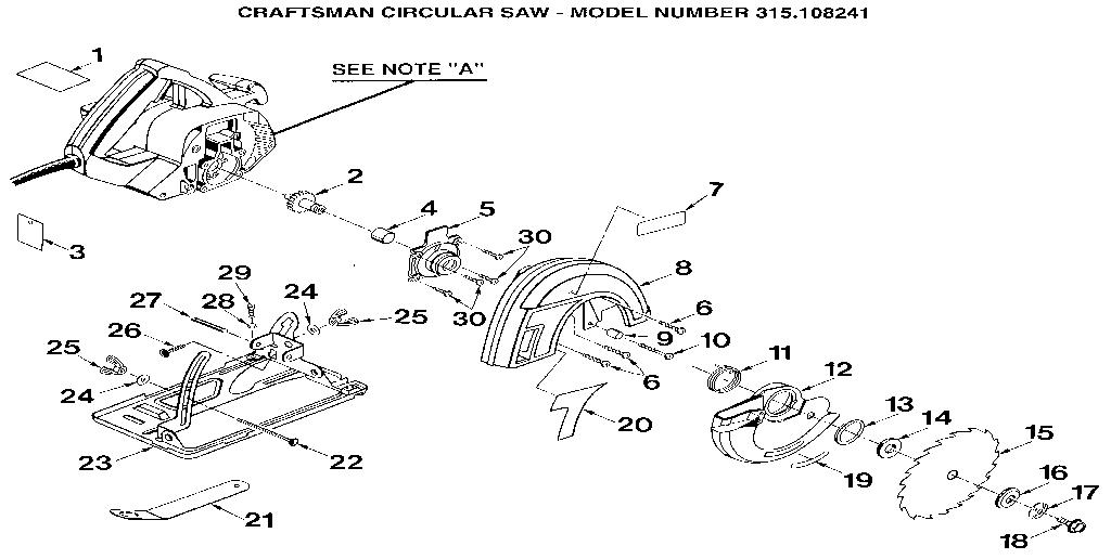 Craftsman model 315108241 saw circular genuine parts
