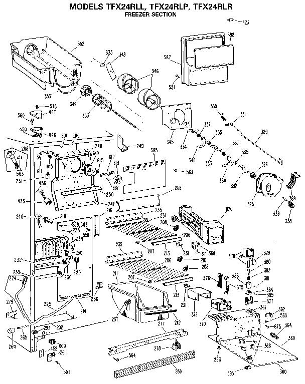 Ge model TFX24RLR side-by-side refrigerator genuine parts