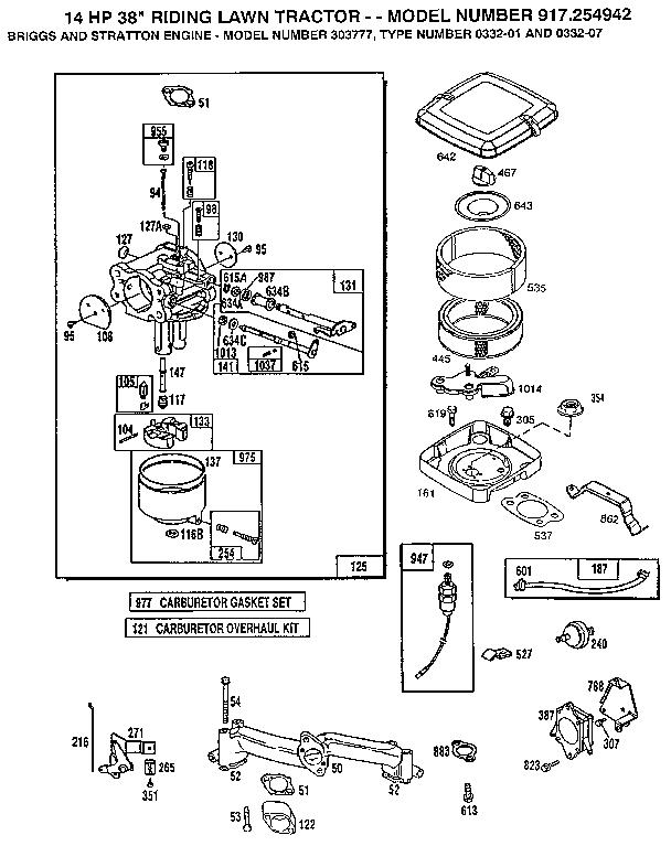 Briggs-Stratton model 303777-0332-01 engine genuine parts