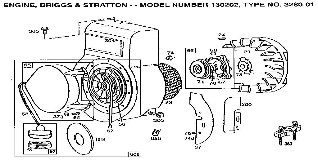 Briggs-Stratton model 130202-3280-01 engine genuine parts