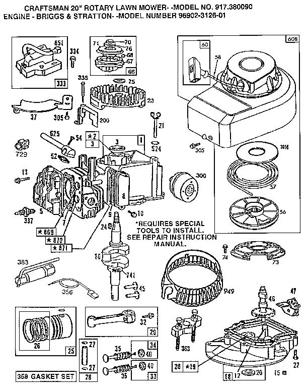 Briggs-Stratton model 96902-3126-01 engine genuine parts