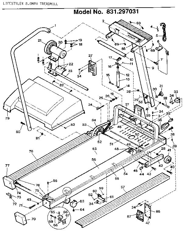 Lifestyler model 831297031 treadmill genuine parts
