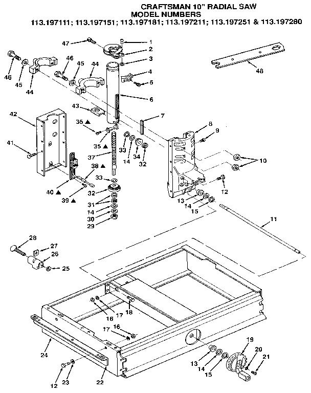Craftsman model 113197151 saw radial genuine parts