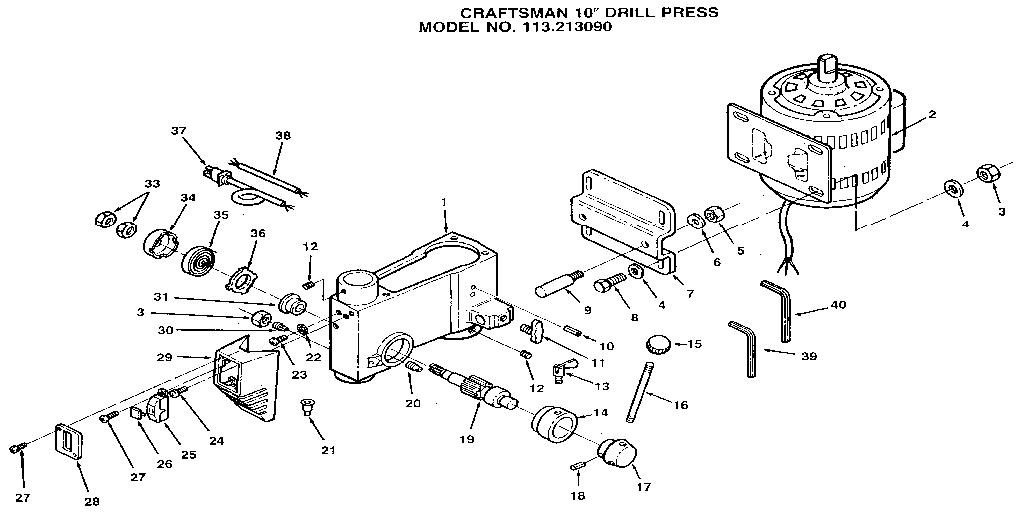 Craftsman model 113213090 drill press genuine parts