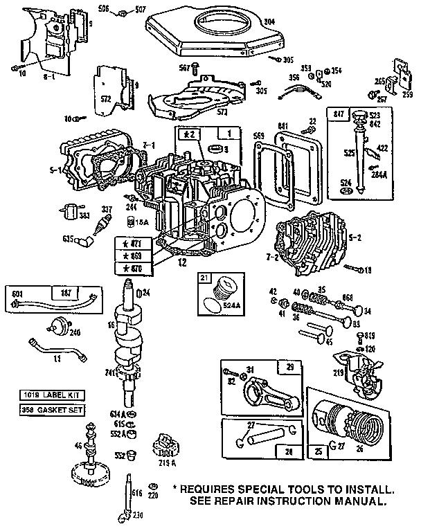 Briggs-Stratton model 422707-1516-01 engine genuine parts