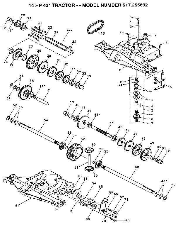 Craftsman model 917255692 lawn, tractor genuine parts